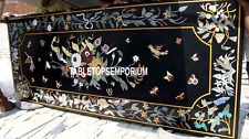 4'x2' Black Marble Dining Table Mosaic Art Inlay Dining Room Home Marquetry Arts
