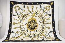 Authentic  Hermes Scarf Les Clefs 100% Silk Black X White 129544