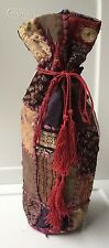 WORLD MKT Cloth WINE Gift BAG Carrier INDIA Tie Strings TASSELS Lined PURPLES+