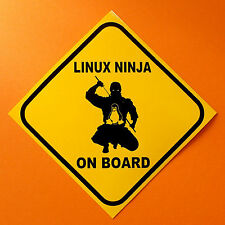 Linux Ninja On Board   Computer tech geek computer or bumper sticker.