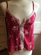 Hollister Dark Red Floral Camisole Tank Top Blouse size Medium  M Lace Trim