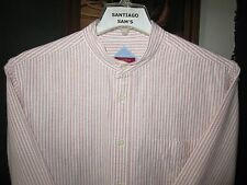 SMALL 14.5-33 2-PLY COTTON OXFORD MERONA STRIPE BANDED COLLARLESS WESTERN SHIRT