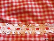Vintage Red & White Gingham Window Curtain Valance 156 x 17 inches Butterfly