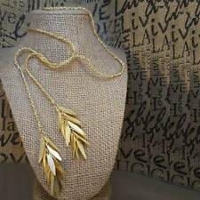 "Hand-Crafted Lariat Gold Plated 24K Fringe Rope Necklace 32"" Chain"