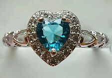 SWISS BLUE TOPAZ STERLING HEART RING 2.35 T.C.W SIZE 7/8/9/10/11