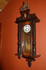"Vintage Junghans  Solid Wood Large Wall Clock W/Horse Finial 41"" Tall"