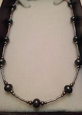 MKD Black Pearls Womens Necklace Lady Gentle Sterling Silver
