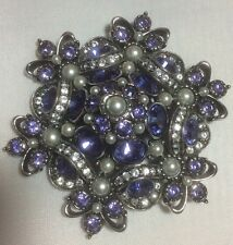 NWOT Joan Rivers Large Purple and Clear Crystal and Faux Pearl Pin Brooch HTF