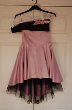 New Kelly Ewing 8 Baby Pink & Black Bandeau Fit & Flare Dress Party Xmas Gift