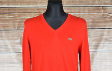 Lacoste V-Neck Men Red Cotton Sweater Size 5, Genuine