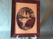 """Vintage Framed Currier and Ives Colored Lithograph """" The First Care"""""""