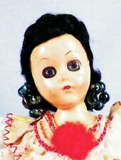 Vintage Brazil Doll Hard Plastic Brazilian Black Hair Earrings Dress Retro 1950s