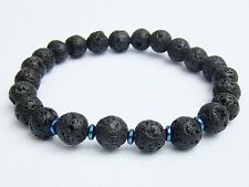 Elasticated BLACK LAVA Men's 8mm beads gemstone streachable bracelet