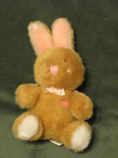 "Vintage Dakin 6"" White Brown Pink Bunny Rabbit w/ heart & Bow Plush 1986"