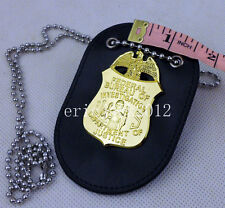 MINI US FBI Badge With Badge Holder Chain Shooter Agent Badge-D1045
