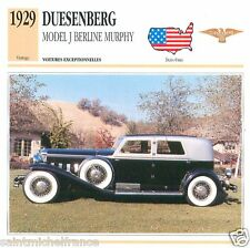 DUESENBERG MODEL J BERLINE MURPHY 1929 CAR VOITURE USA ETATS-UNIS CARD FICHE