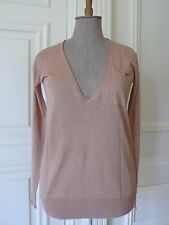 J. CREW Dark Beigy-Nude Linen Blend Deep-V Neck Top Jumper T Shirt XS