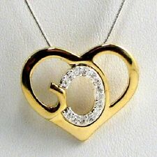 God's Heart Crystal Necklace GOD Formed Into Heart Silver & Gold  053284