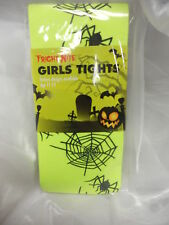 NEON YELLOW TIGHTS WITH BLACK SPIDERS AND WEBS HALLOWEEN FANCY DRESS 7-10