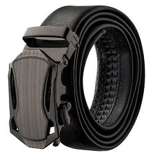 Veronz Men's Wide Black Leather Slide Belt Ratchet Belt Buckle 98B06 - 54""