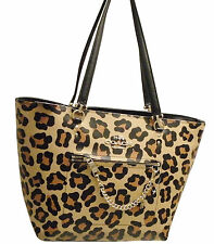 NWT Coach 34445 Town Car Tote In Ocelot Print Crossgrain Leather Light gold/Tan