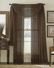 3 Piece Sheer Panel Set Window treatment covering COFFEE BROWN Curtains & Scarf