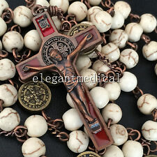 Vintage Catholic St. Saint Benedict White Turquoise beads Rosary Cross Necklace