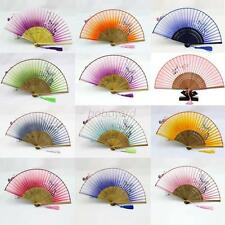 Chic Chinese Japanese Hand Held Fan Silk Bamboo Folding Pocket Fan Party Favor