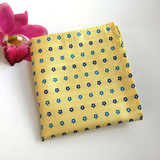 Yellow Blue Men Paisley Floral Flowers Polka Dots Stripe Pocket Square F025