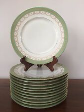 Black Knight Dinner Plates GREEN TRIM GOLD BOWS & SWAGS # 335 ~ Set of 12
