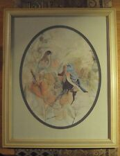 VINTAGE BIRD PRINT BARBARA WELDON CREAM COLOR WOOD FRAME OVAL PICTURE
