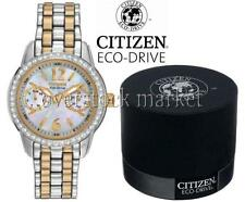 NEW WOMENS CITIZEN FD1036-50D ECO-DRIVE CRYSTAL ACCENTED ROSE GOLD TONE WATCH!