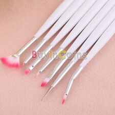 7 Pennelli Nail Art Pittura Design Bianco Set Maniglia Fan Brush EJ angolato DOT