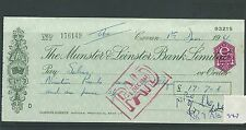 wbc. - CHEQUE - CH947 - USED -1961/62- MUNSTER & LEINSTER BANK, CAVAN
