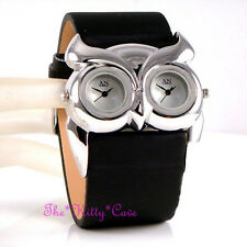 Stunning Designer Black Silver Ladies Owl Bird Twin Time Dual Multi Dial Watch