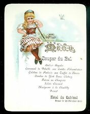 Fine Chromolithograph Embossed Dinner Dance Menu, Hotel du Quirinal, Rome 1895