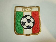 Italy Flag With Futbal Soccer Shield Shape Patch