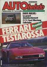 AUTO HEBDO n°454 du 17 Janvier 1985 FERRARI TESTAROSSA FORD MUSTANG 1966 DAKAR