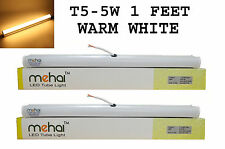 2 Pcs Mehai T5-5W Slim Led Tube Light 1 Feet(300MM) For Warm White Home &Office