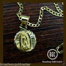 Round Mama Mary Pendant w/ Cuban Link Chain 14k Solid Yellow Gold ON SALE!!