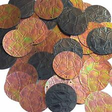 Sequin Bronze Gold Iris Brown Round 30mm Tooled Leather Effect Couture Paillette