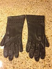 MISS ARIS Vtg Brown Leather Gloves Antron Lining Philippines   Size 7