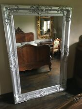 SILVER ORNATE LARGE HUGE FRENCH BEVELLED WOOD DRESS WALL LEANER MIRROR 6FT x 3FT