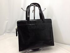 Authentic Chanel Hand Bag Leather Black 6D260390