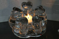 New Crystal Heart Clear Glass Candle Warmer Base for Teapot Heat Resistant i