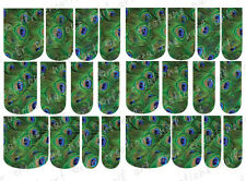 24 WATER SLIDE NAIL ART DECALS * Peacock Feathers Green * FULL NAIL COVERS