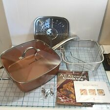 "New COPPER CHEF 11"" Square Cooking Pan 5 Piece Set - 1 Pan 6 Ways To Cook"