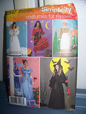 Simplicity Pattern # 2847 Witch Angel Gypsey Maid Princess Dress Wings Hat XS-L