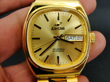 NEW ENICAR 2168 25 JEWELS GOLD PLATED SWISS MADE DAY DATE AUTOMATIC MENS WATCH