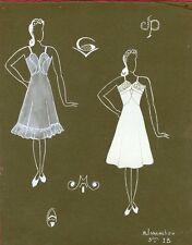 """""""PROJET DE LINGERIE FEMININE"""" Maquette gouache originale M. ISSANCHOU vers 1940"""